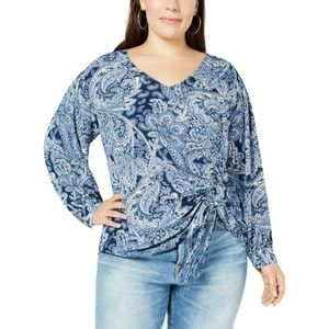 NY Collection Blue Paisley Print Tie Front Blouse